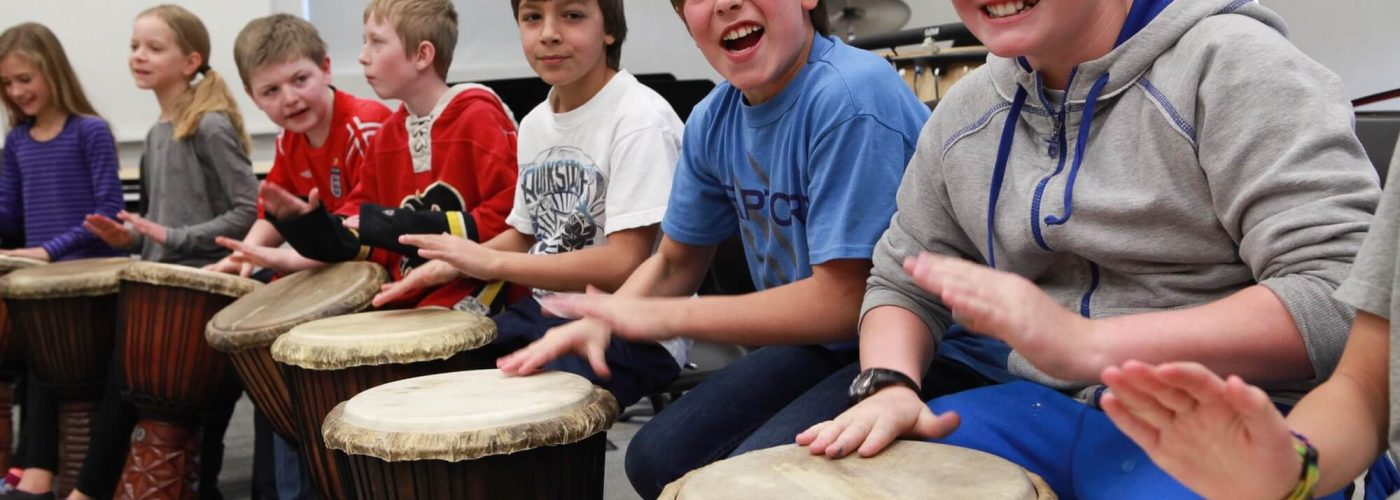 Students in drum circle